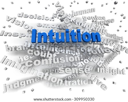 3d image Intuition word cloud concept - stock photo