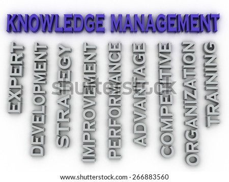 3d image knowledge management   issues concept word cloud background - stock photo