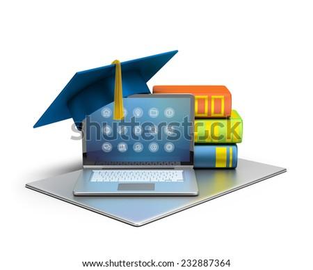 3d image. Laptop, hat and books. The concept of computer education. Isolated white background. - stock photo