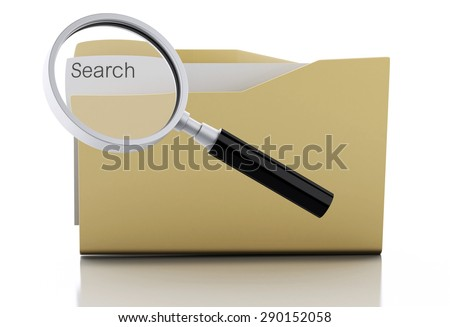 3d image. Magnifying glass examine folder. Search Documents Concept. Isolated white background - stock photo