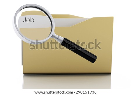 3d image. Magnifying glass examine Job in folder. Search Documents Concept. Isolated white background - stock photo