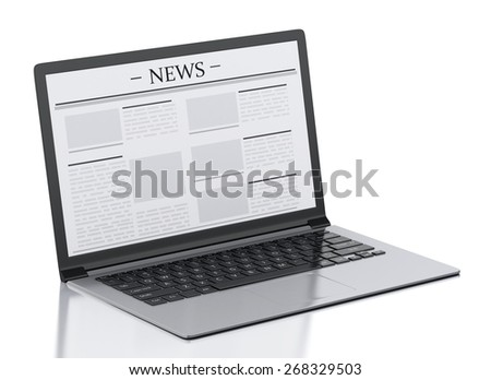 3d image. Modern laptop with news. Internet, Media concept on white background