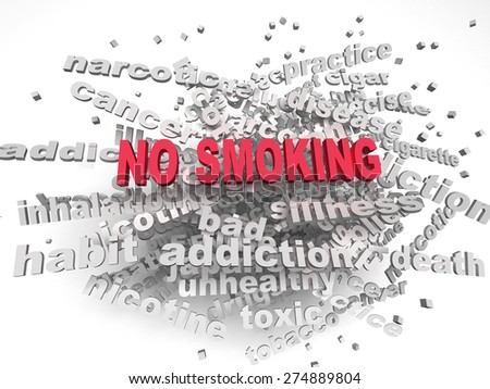 3d image No smoking   issues concept word cloud background - stock photo