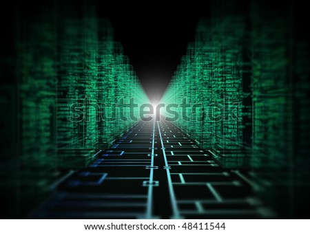 3d image of a circuit with assembly language on sides - stock photo