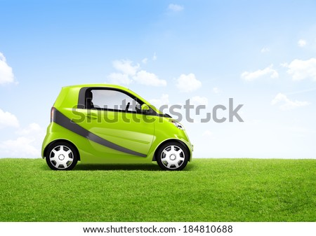 3D Image of a Green Car on an Open Field - stock photo