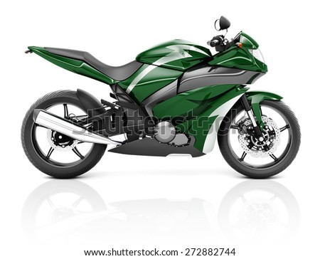 3D Image of a Green Modern Motorbike - stock photo