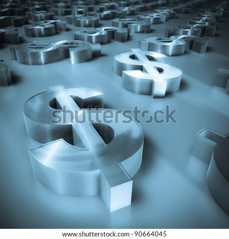 3d image of a lot of  metal brushed dollar symbols with defocus effect - stock photo
