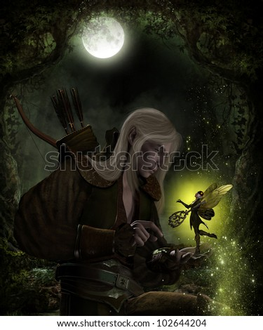 3D image of a Male Elven Archer and fairy who is holding the key that unlocks the secrets of the forest. - stock photo
