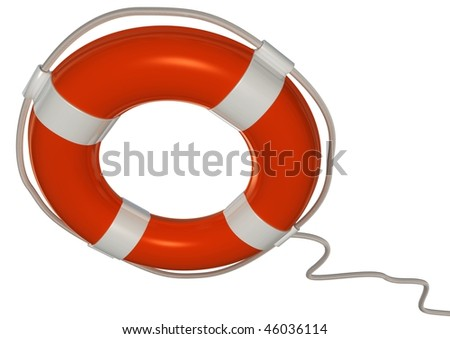 3d image of a orange and white lifebuoy isolated on white with clipping path