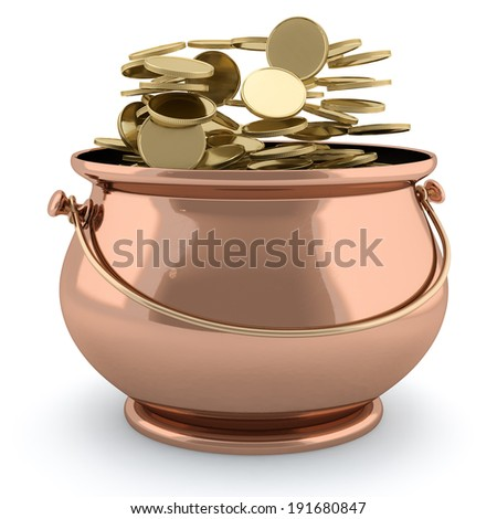 3d image of a pot full of golden coins isolated on white background