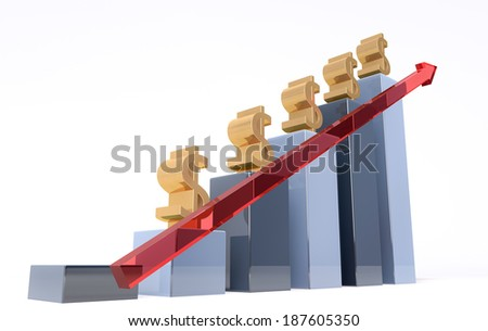 3d image of a raising graph chart - stock photo