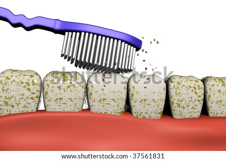 3d image of a toothbrush cleaning the dirty teeth