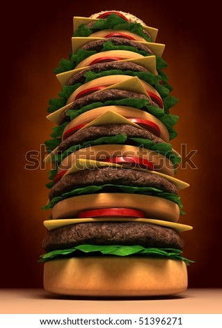 3d image of a Very High Tower Hamburger - stock photo