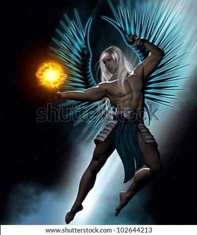 3D image of a white haired male arc angel  with metallic turquoise wings descending from the heavens holding a golden fire ball and dressed in metal and cloth skirt.