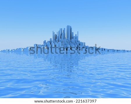 3D image of abstract city on water.