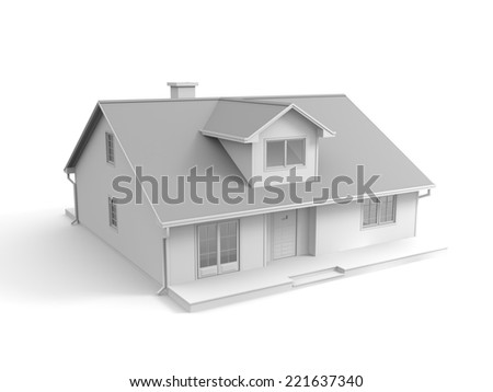 3D image of abstract house, isolated on white.
