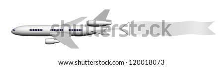 3d image of airplane with banner isolated on white.