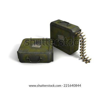 3D image of ammo clip on white background.