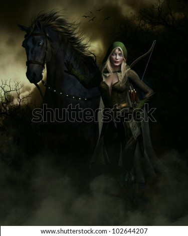 3D image of an female elven archer and Black Stallion taking a break on a long journey through the forest at night.