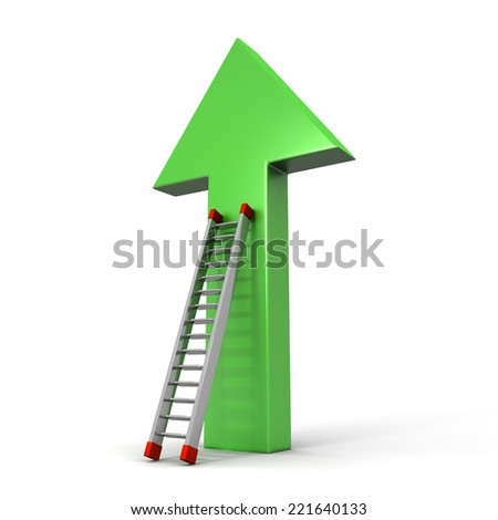 3D image of arrow and ladder on white background.