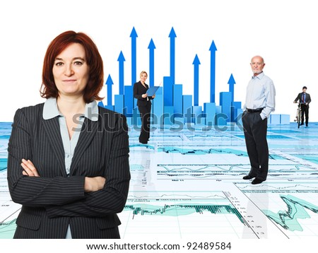 3d image of arrows and worker