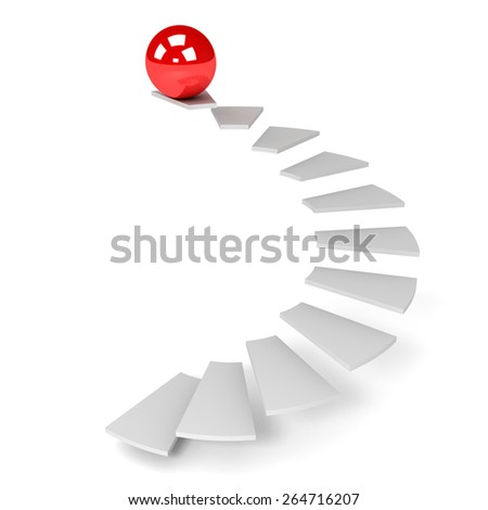 3D image of ball and ladder on white background.