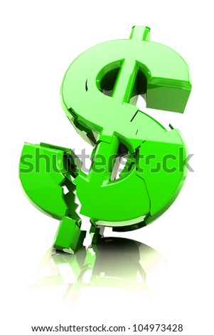 3d image of breaking dollar symbol against abstract background - stock photo