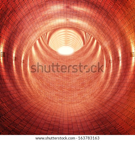 3d image of brick tunnel