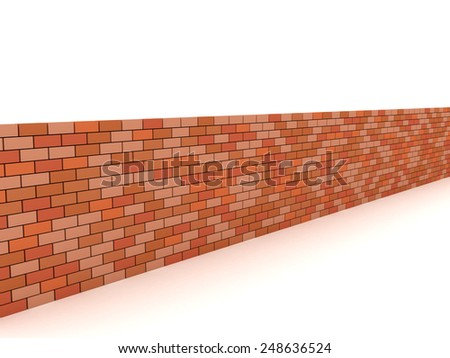 3D image of brick wall on white background. - stock photo