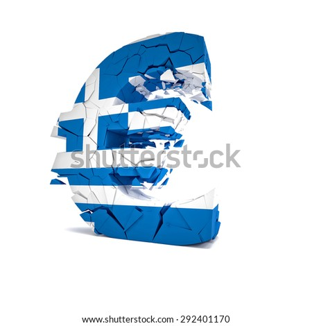 3d image of broken greek euro symbol - stock photo