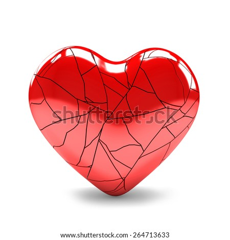 3D image of broken heart on white background
