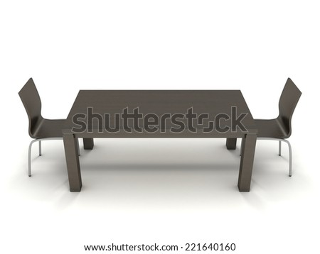 3D image of busines table with four chairs on white background.