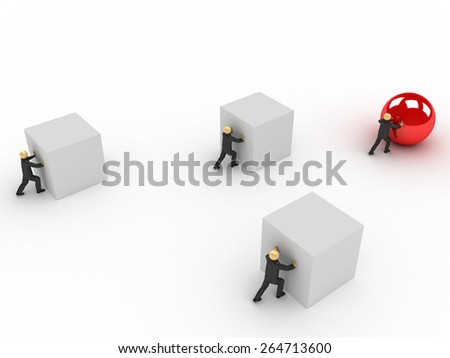 3D image of business competition with one cheater. - stock photo