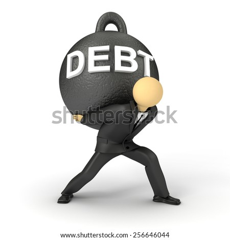 3D image of businessman holding the heavy burden of debt