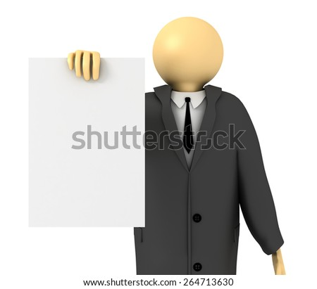 3D image of Businessman showing blank paper on white. - stock photo