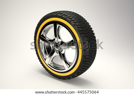 3d image of Chromed car wheel on the gradient background. High quality 3d render.