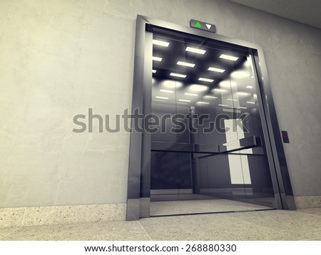 3d image of classic elevator - stock photo