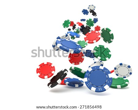 3d image of classic poker chips  - stock photo