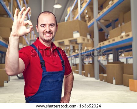 3d image of classic warehouse and labor - stock photo
