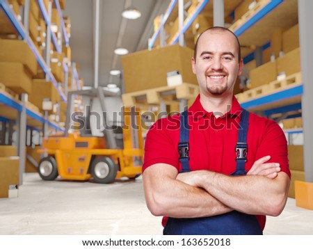 3d image of classic warehouse and worker - stock photo
