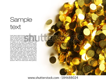 3d image of coins with white background - stock photo