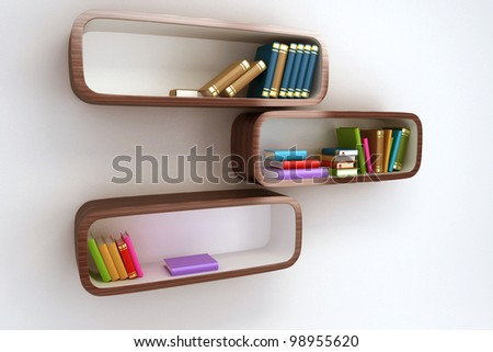 3d image of colorful book in shelve against white background - stock photo