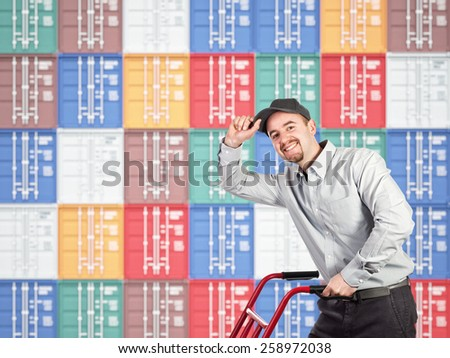 3d image of colorful container and delivery man - stock photo