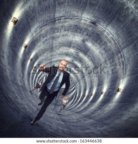 3d image of concrete tunnel and running people - stock photo