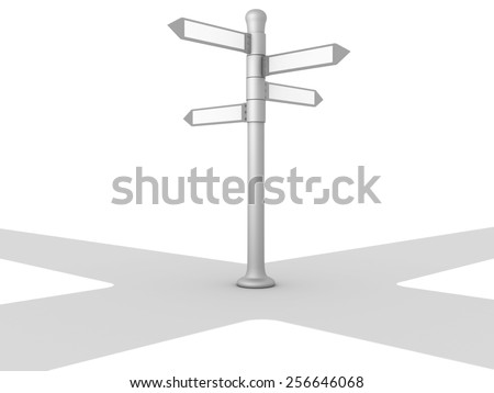 3D image of crossroads on white background. - stock photo