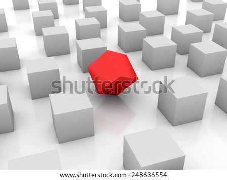 3D image of cube standing out of the crowd.
