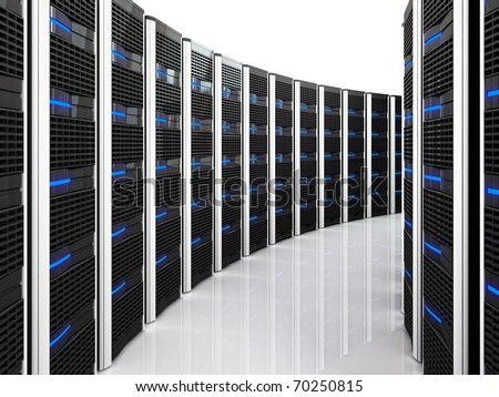 3d image of datacenter with lots of server - stock photo