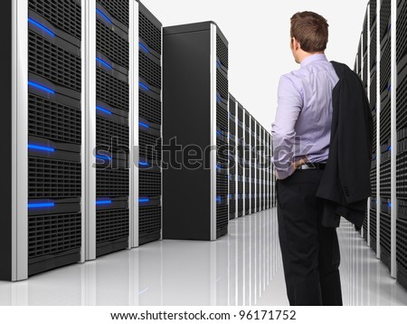 3d image of datacenter with lots of server and worker