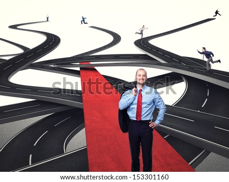 3d image of different streets and running people  - stock photo