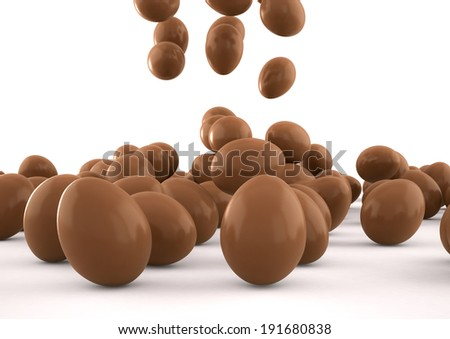 3d image of Easter eggs falling over a white background